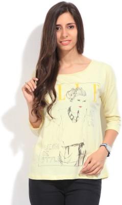 Elle Printed Women's Round Neck Yellow T-Shirt