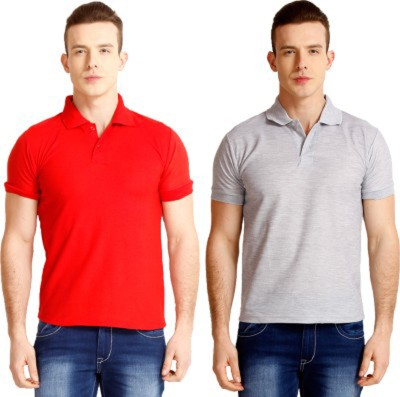 Larwa Solid Men's Polo Neck Grey, Red T-Shirt