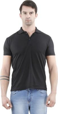 Tej Star Solid Men's Polo Neck Black T-Shirt