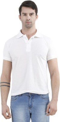 Tej Star Solid Men's Polo Neck White T-Shirt