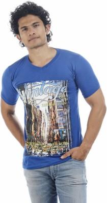 Adventure Printed Men's V-neck Blue T-Shirt