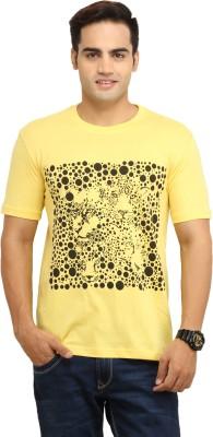 WallWest Printed Men's Round Neck Yellow T-Shirt