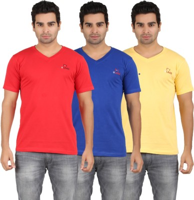 U Lead Solid Men's V-neck Yellow, Red, Blue T-Shirt