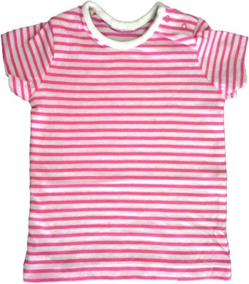 Cool Club Striped Baby Girl's Round Neck Pink T-Shirt