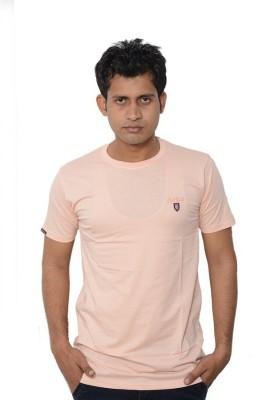 Lampara Solid Men's Round Neck Pink T-Shirt