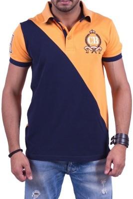 Cotton & Blends Solid Men's Polo Orange T-Shirt