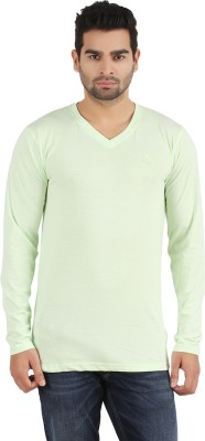 R - Cross Solid Men's V-neck Light Green T-Shirt