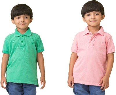 Bluebuck Solid Boy's Polo Neck Green, Pink T-Shirt
