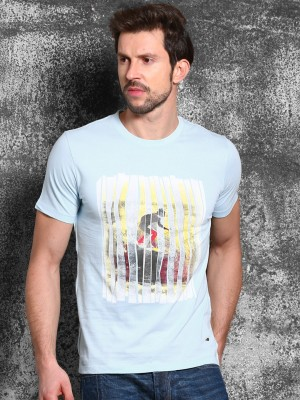 WROGN Printed Men's Round Neck Blue T-Shirt