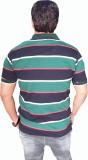 Japroz Striped Men's Polo Neck Dark Gree...