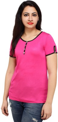 Styles Clothing Solid Women's Scoop Neck Pink T-Shirt