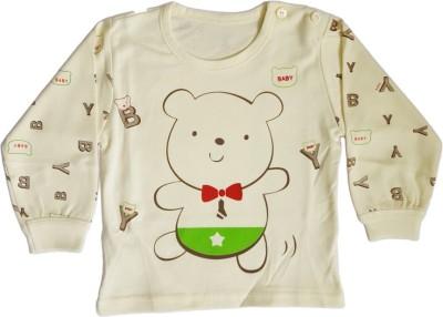 Upside Down Printed Baby Girl,s, Baby Boy's Round Neck Yellow T-Shirt