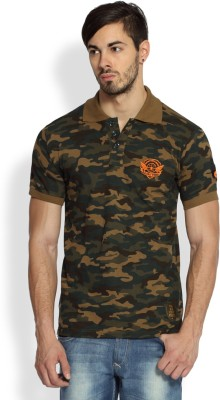 Difference of Opinion Military Camouflage Men's Polo Neck Green T-Shirt