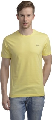 WRIG Solid Men's Round Neck Yellow T-Shirt