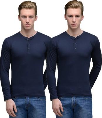 Feed Up Solid Men's Henley Dark Blue, Dark Blue T-Shirt
