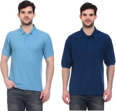 Blue-Tuff Solid Men,s Polo Neck Light Blue, Dark Blue T-Shirt