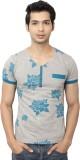 Spur Printed Men's V-neck Grey T-Shirt
