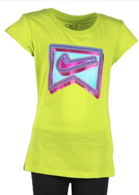 Nike Kids Printed Girl's Round Neck Green T-Shirt