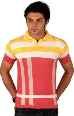 A33 Store Striped Men's Flap Collar Neck Yellow, Pink T-Shirt