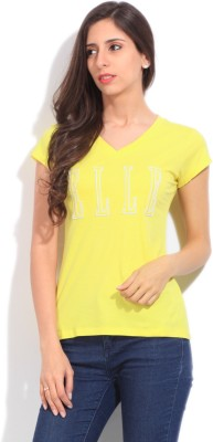 Elle Solid Women's V-neck Yellow T-Shirt