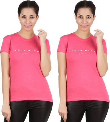 Twin Birds Printed Women's Round Neck Pink T-Shirt