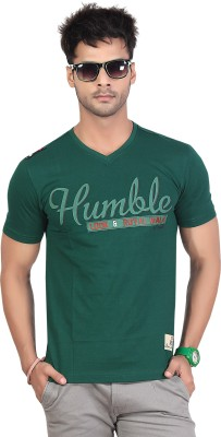 Maniac Printed Men's V-neck Dark Green T-Shirt
