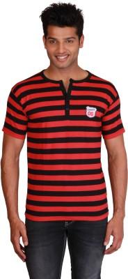 Right Shape Striped Men's Henley Red, Black T-Shirt