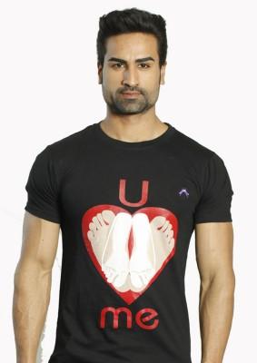 ALBITEN Printed Men's Round Neck Black T-Shirt