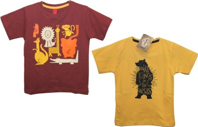 Hussky Graphic Print Boy's Round Neck Multicolor T-Shirt