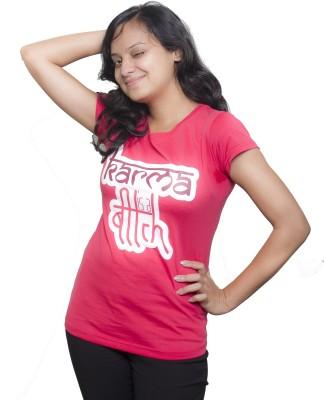 Tee Hive Graphic Print Women's Round Neck Pink T-Shirt