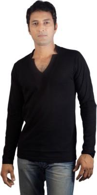 Vagga Solid Men's V-neck Black T-Shirt