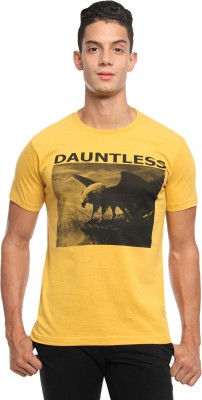 Griffin Sport Graphic Print Men's Round Neck Yellow T-Shirt