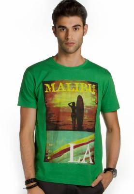 Provogue Printed Men's Polo Neck Green T-Shirt
