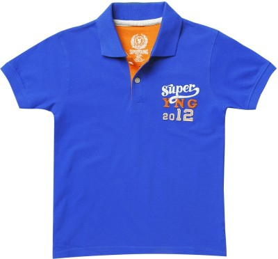 SuperYoung Solid Boy's Polo Neck Blue T-Shirt
