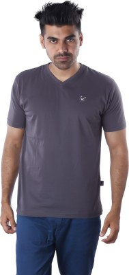 Mrtees Solid Men's V-neck Grey T-Shirt