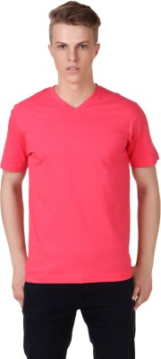 Aventura Outfitters Solid Men's V-neck Pink T-Shirt