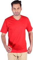 Humbert Solid Men's V-neck Red T-Shirt