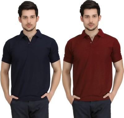 Krazy Katz Solid Men's Polo Neck Dark Blue, Maroon T-Shirt