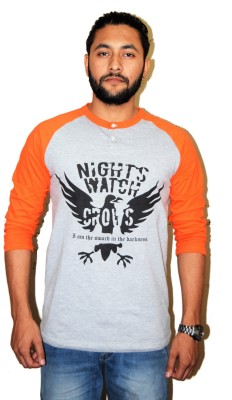 Lemon Pirates Printed Men's Henley Orange T-Shirt