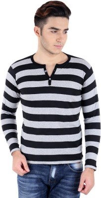 Bigidea Striped Men's Henley Black, Grey T-Shirt