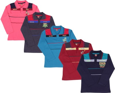 Ultra Palio Embroidered Boy's Polo Neck Multicolor T-Shirt