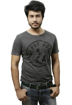 Gypsy Soul Graphic Print Men's Round Neck Black T-Shirt