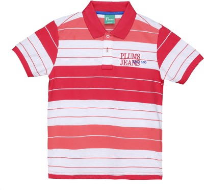 Plums Striped Boy's Polo Neck T-Shirt