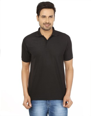 Forever19 Solid Men's Polo Neck Black T-Shirt