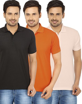 Forever19 Solid Men's Polo Neck Multicolor T-Shirt