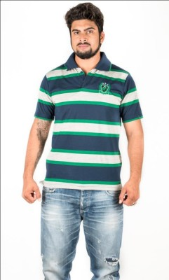 Prateek Exports Striped Men's Polo Neck Multicolor T-Shirt