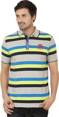 Q-Plus Striped Men's Polo Neck Multicolor T-Shirt