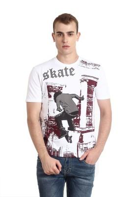 Teen Tees Printed Men,s Round Neck White T-Shirt
