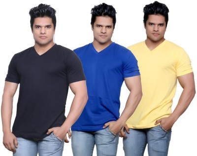 IndiStar Solid Men's Fashion Neck Black, Blue, Yellow T-Shirt