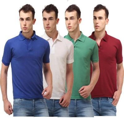 Lime Solid Men's Polo Neck White, Blue, Green, Maroon T-Shirt